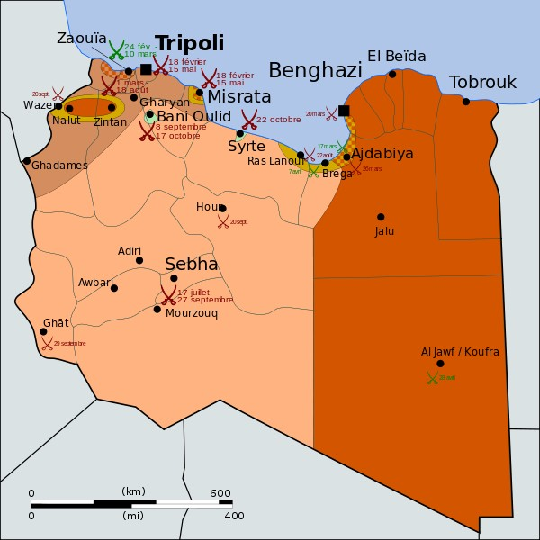 Carte de la guerre en Libye