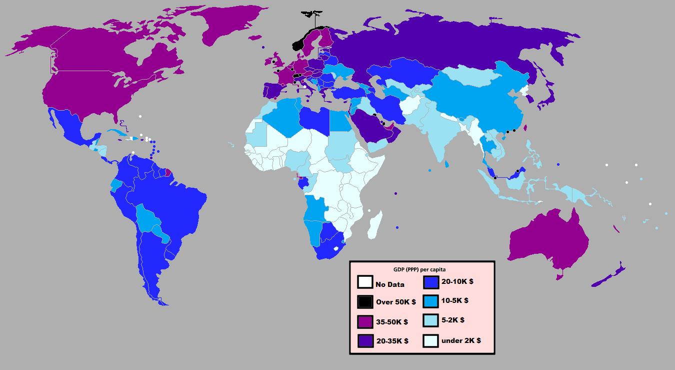 Carte PIB par Habitant